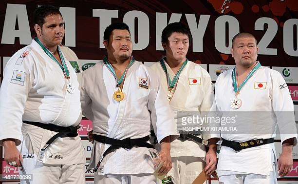 Men's over 100kg class gold medalist Kim SungMin of South Korea poses with silver medalist Rafael Silva of Brazil and bronze medalists Hisayoshi...