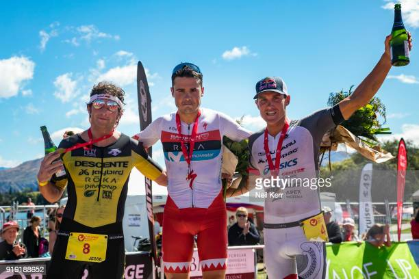 Men's podium for 2018 Challenge Wanaka Half Pro event on February 17 2018 in Wanaka New Zealand