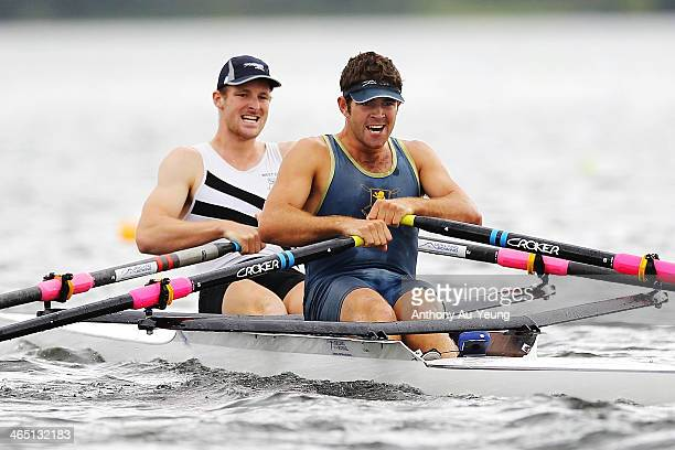Mens Premier Double Sculls final at Lake Karapiro on January 26 2014 in Cambridge New Zealand