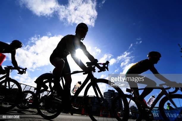 Mens Pro Field cycling during the Mooloolaba ITU World Cup Triathlon on March 11, 2017 in Sunshine Coast, Australia.