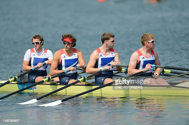 Men's rowing four men team of Britain Andrew Triggs Hodge Tom James Peter Reed and Alex Gregory train in preparation for the London 2012 Olympic...