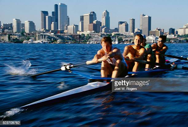 Men's Rowing Team Practicing on Lake Union