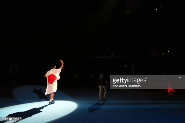 Men's Singles champion Kento Momota of Japan laps on day six of the Daihatsu Yonex Japan Open Badminton Championships Tokyo 2020 Olympic Games test...