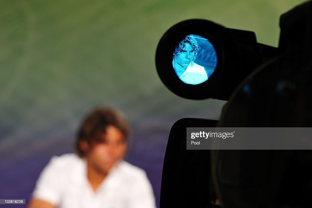 Men's Singles Final Champion, Rafael Nadal of Spain speaks during a press conference after defeating Tomas Berdych of Czech Republic on Day Thirteen of the Wimbledon Lawn Tennis Championships at the All England Lawn Tennis and Croquet Club on July 4, 2010 in London, England.