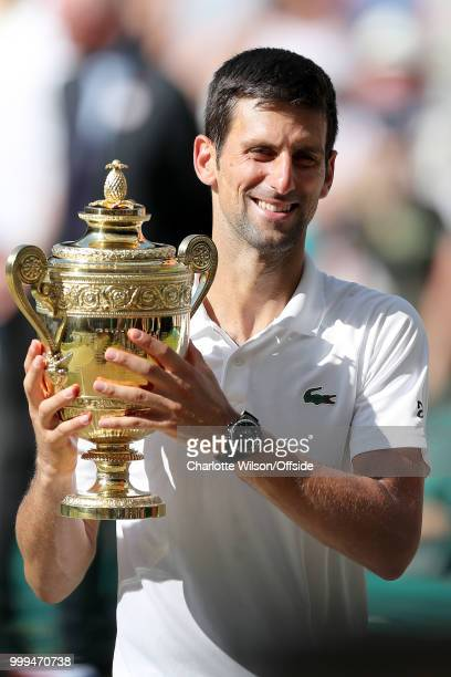 Mens Singles Final Novak Djokovic v Kevin Anderson Novak Djokovic poses with the winners trophy at All England Lawn Tennis and Croquet Club on July...