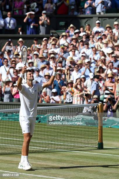 Mens Singles Final Novak Djokovic v Kevin Anderson Novak Djokovic celebrates winning the Grand Slam at All England Lawn Tennis and Croquet Club on...