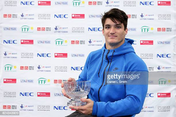 Men's Singles runnerup Gustavo Fernandez of Argentina poses with his trophy during the Bath Indoors Wheelchair Tennis Tournament on November 19 2016...
