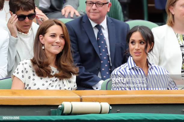 Mens Singles SemiFinal Rafael Nadal v Novak Djokovic Kate Middleton Duchess of Cambridge and Meghan Markle Duchess of Sussex at All England Lawn...