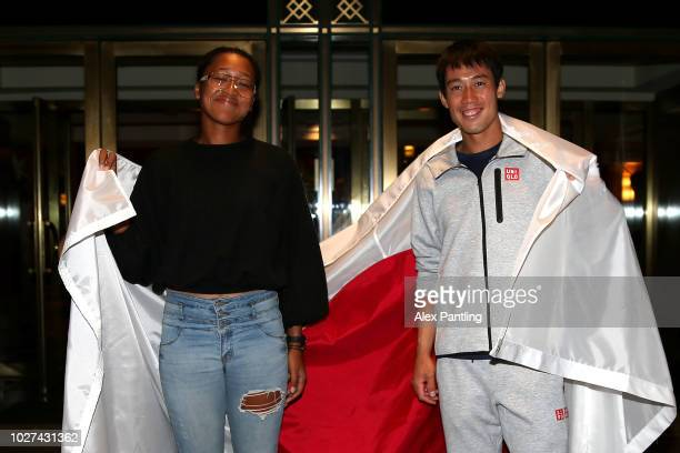 Men's singles semifinalist Kei Nishikori of Japan and women's singles semifinalist Naomi Osaka of Japan pose for a portrait outside The Kitano Hotel...