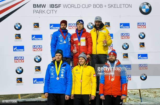 Men's Skeleton winners Sungbin Yun Martins Dukurs Axel Jungk Tomass Dukurs Christopher Grotheer and Alexander Tretiakov pose for a picture after the...