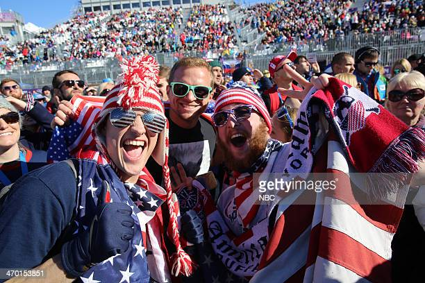 GAMES Men's Slopestyle Skiing Pictured Patriotic fans cheer on the US men's Slopestyle team