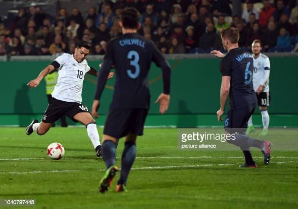 U21 men's soccer match Germany vs England in the BRITAArena in Wiesbaden Germany 24 March 2017 Germany's Nadiem Amiri shoots the 10 goal against...