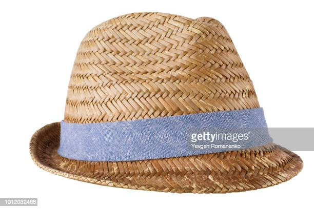 mens straw hat isolated on white - hat stock pictures, royalty-free photos & images