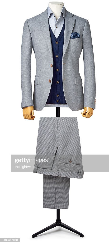 Fato de homem isoladas no branco com Traçado de Recorte : Foto de stock