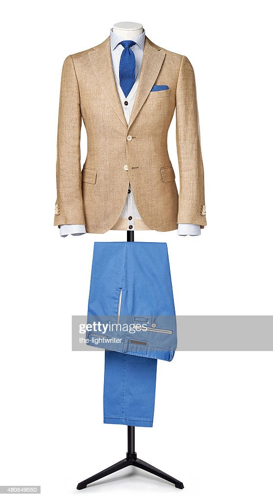 mens suit isolated on white with clipping path : Stock Photo