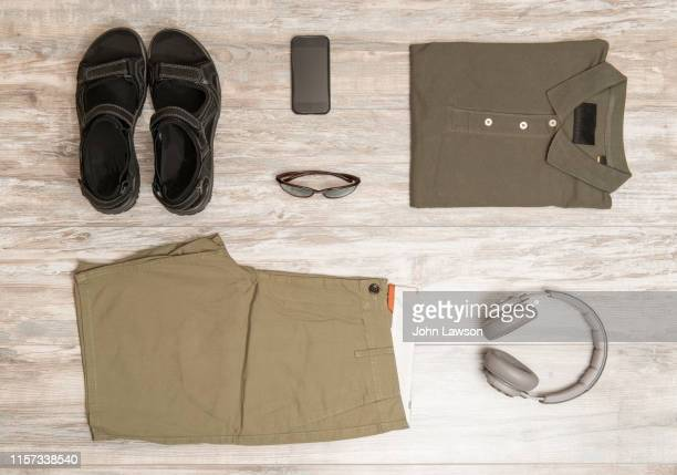 men's summer clothes - khaki trousers stock pictures, royalty-free photos & images