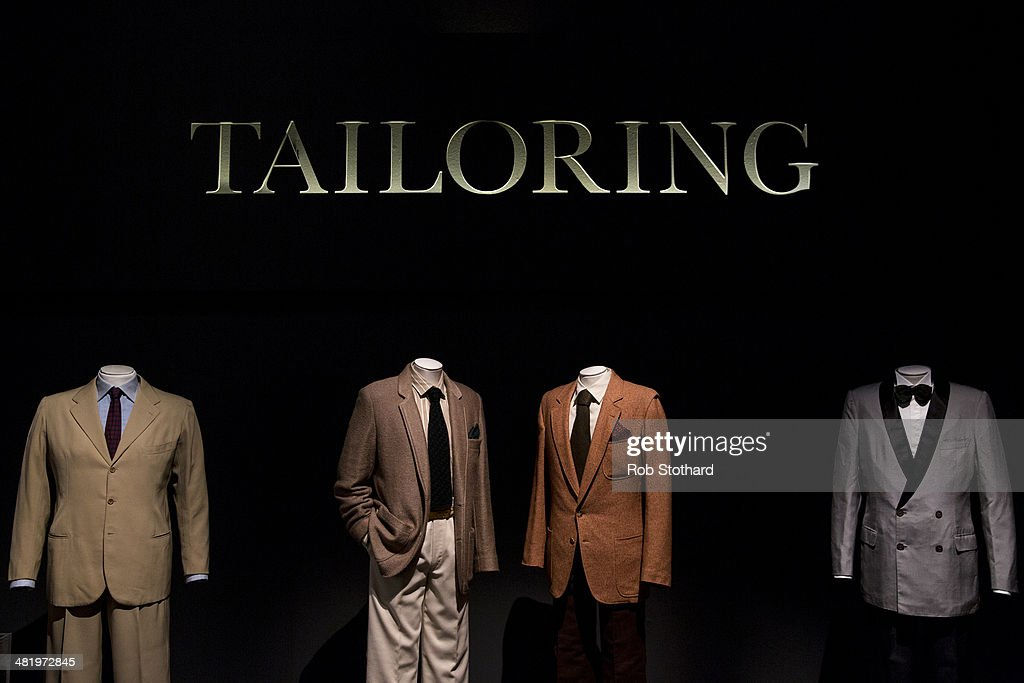 Men's tailoring on display at The Glamour of Italian Fashion 1945-2014 exhibition at the Victoria and Albert Museum on April 2, 2014 in London, England. The V&A is putting the finishing touches to its exhibition The Glamour of Italian Fashion 1945-2014 which opens to the public on April 5, 2014. The show, curated by Sonnet Stanfill, displays around 120 ensembles and accessories by leading Italian fashion houses and influential contributors to fashion from the end of the Second World War to the present.