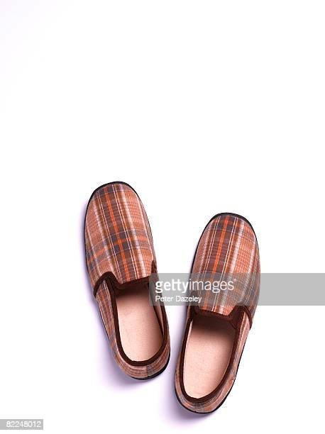 Mens tartan Slippers on white background