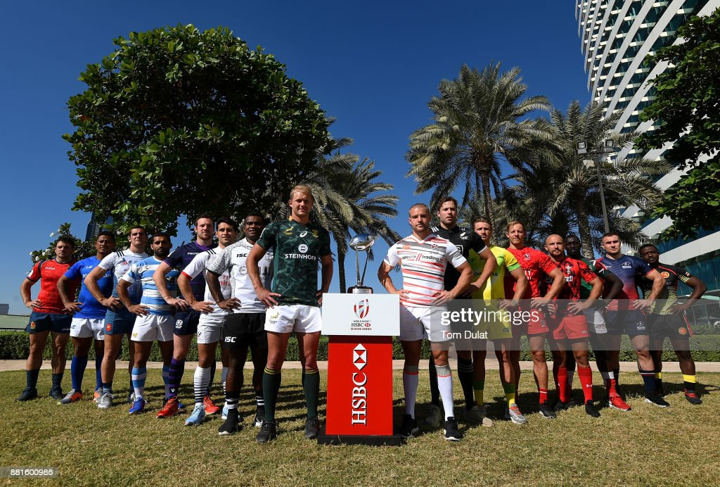 Men's team captains pose for photos with the Dubai Sevens Trophy during the Emirates Dubai Rugby Sevens: HSBC Sevens World Series photocall on November 29, 2017 in Dubai, United Arab Emirates.
