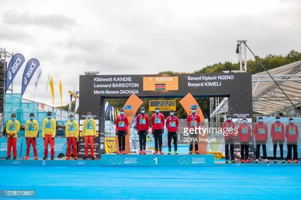 Men's Team medal ceremony of 2020 IAAF World Half Marathon Championships in Gdynia