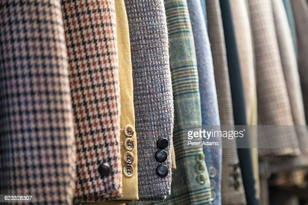 men's tweed & wool jackets, tailor's shop, england - plaid stock pictures, royalty-free photos & images
