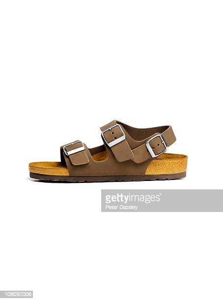 men's vacation sandal with copy space - sandale stock-fotos und bilder