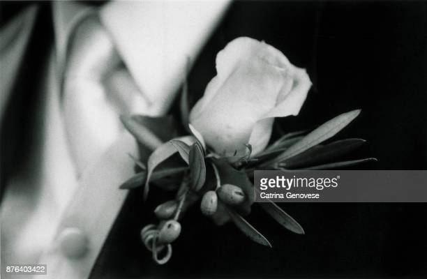 Men's White Rose Boutonniere on Tuxedo at Wedding ceremony