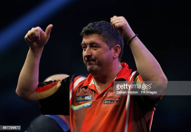 Mensur Suljovic during day nine of the William Hill World Darts Championship at Alexandra Palace London