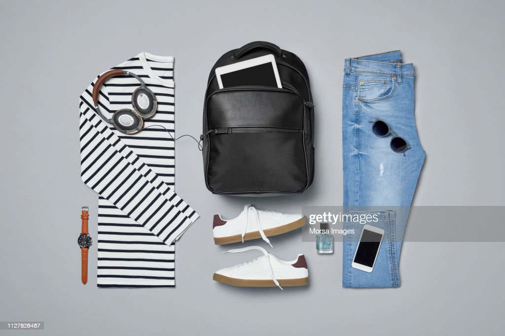 Menswear with personal accessories : ストックフォト