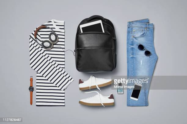 menswear with personal accessories - knolling concept stock pictures, royalty-free photos & images