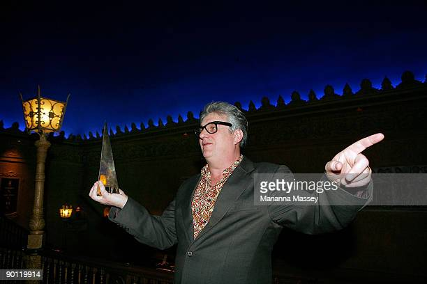Mental as Anything member Greedy Smith with his award backstage at the 2009 ARIA Hall of Fame awards at The Forum Theatre on August 27 2009 in...