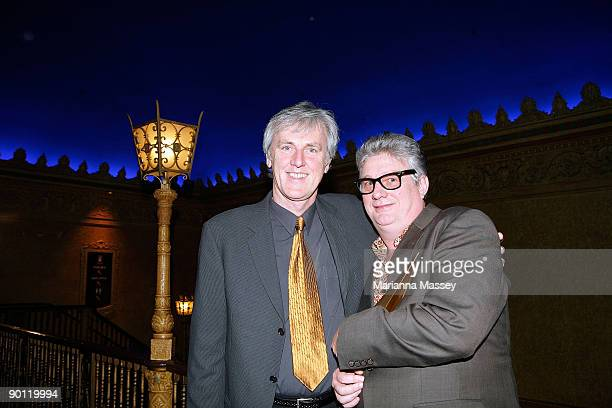 Mental as Anything member Greedy Smith with Roy Slaven backstage at the 2009 ARIA Hall of Fame awards at The Forum Theatre on August 27 2009 in...
