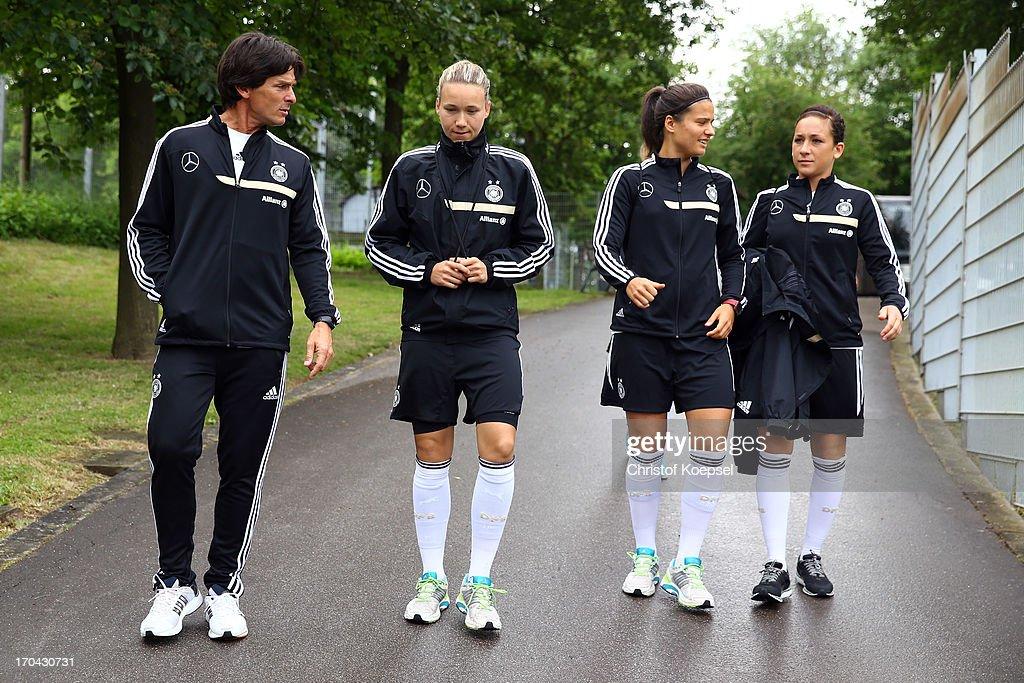 Mental coach Markus Hornig, Josephine Henning, Dzsenifer Marozsan and Nadine Kessler during the training session of Women's Team Germany at training ground Ueberruhr on June 13, 2013 in Essen, Germany.