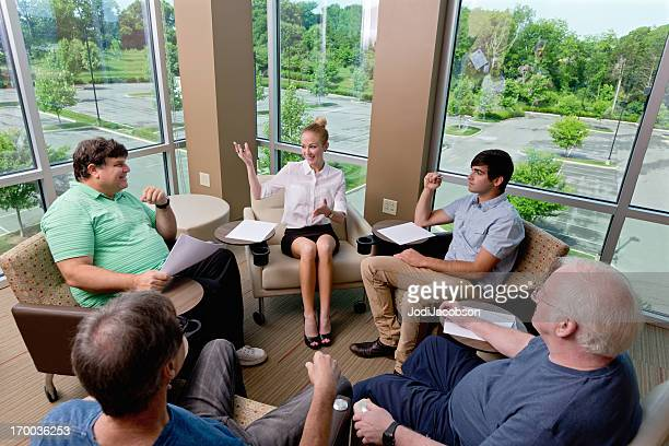 Mental Health : therapy counseling session or Business Brainstorming