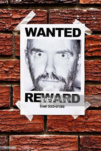mental patient or criminal? wanted poster on brick wall - desire stock pictures, royalty-free photos & images
