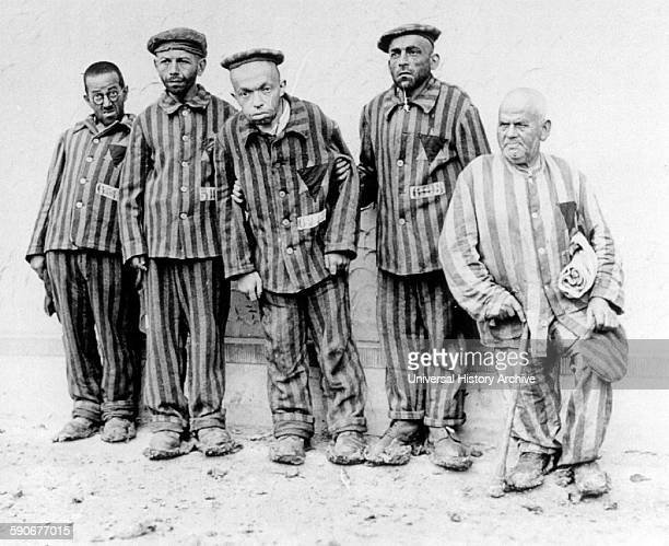Mentally and physically handicapped Jewish prisoners in Buchenwald concentration camp 1938