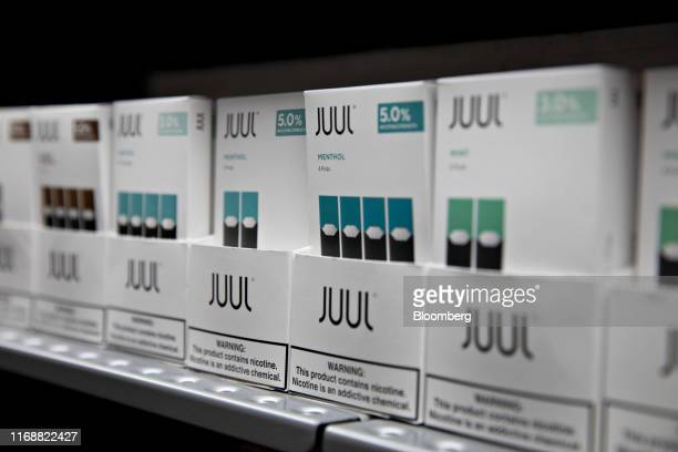 Menthol pods for Juul Labs Inc. E-cigarettes are displayed for sale at a store in Princeton, Illinois, U.S., on Monday, Sept. 16, 2019. Faced with a...