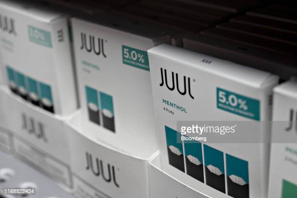 Menthos pods for for Juul Labs Inc. E-cigarettes are displayed for sale at a store in Princeton, Illinois, U.S., on Monday, Sept. 16, 2019. Faced...