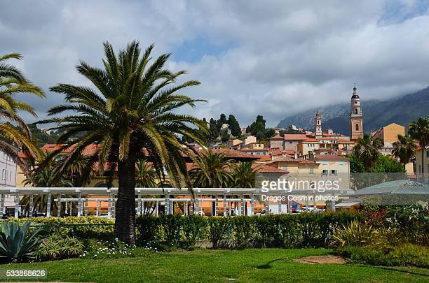 Menton, old city houses and street in the morning, French riviera