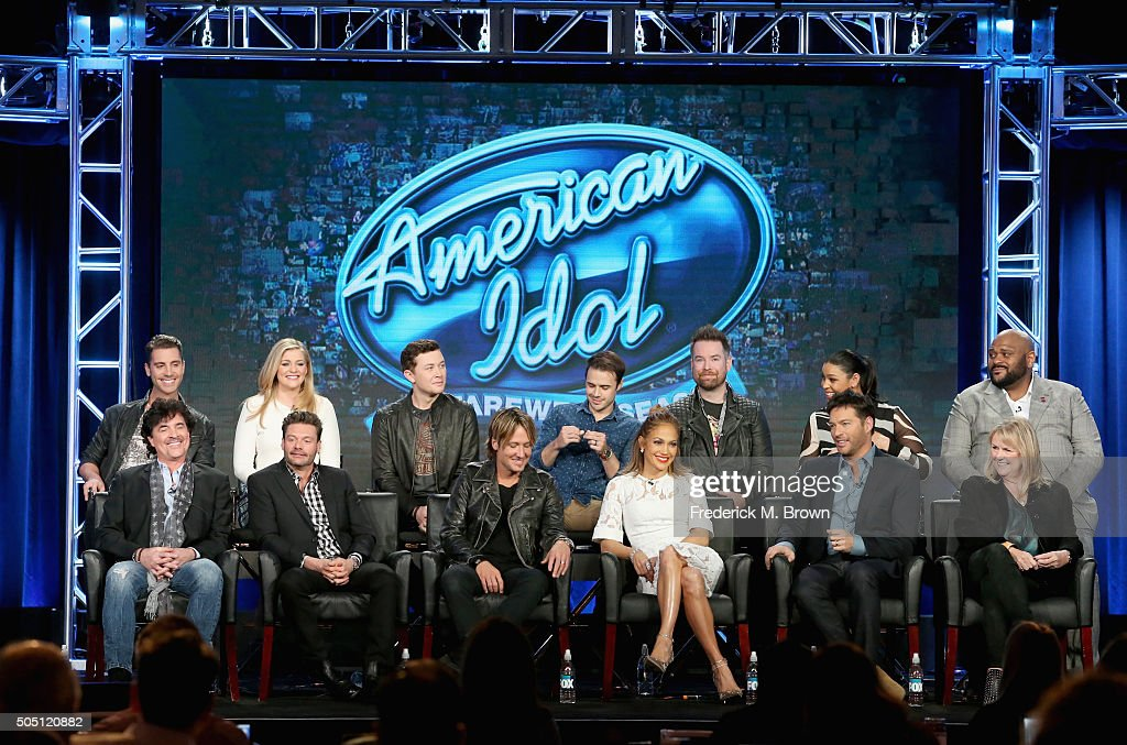 Mentor Scott Borchetta, Host Ryan Seacrest, Judge Keith Urban, Judge Jennifer Lopez, Judge Harry Connick, Jr., Executive Producer Trish Kinane, (L-R Back Row), S14 Winner Nick Fradiani, S10 Runner-Up Lauren Alaina, S10 Scotty McCreery, S8 Winner Kris Allen, S7 Winner David Cook, S6 Winner Jordin Sparks, S2 Winner Ruben Studdard speak onstage during the 'American Idol' panel discussion at the FOX portion of the 2015 Winter TCA Tour at the Langham Huntington Hotel on January 15, 2016 in Pasadena, California