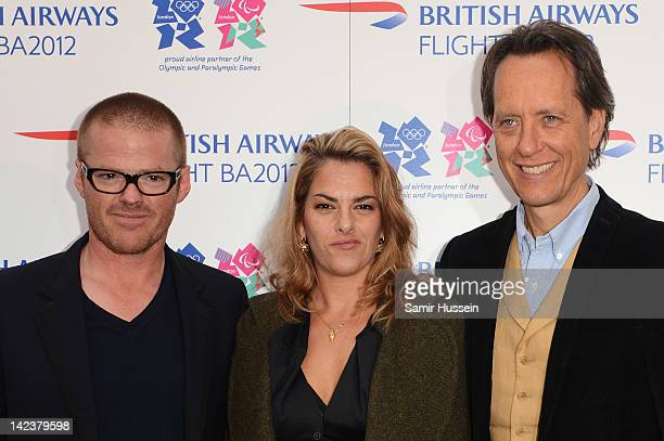 Mentors Heston Blumenthal Tracey Emin and Richard E Grant attends the official launch of Flight BA2012 at Flight BA2012 popup restaurant cinema and...