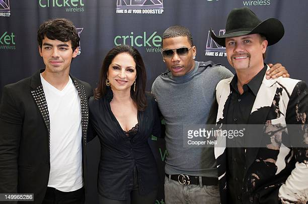 Mentors Joe Jonas Gloria Estefan Nelly and John Rich from the CW's The Next pose for a photo before a live taping on August 7 2012 in Dallas Texas