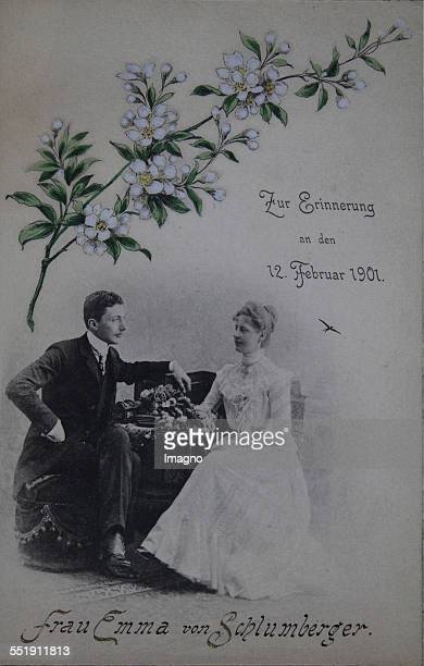 Menu card for wedding dinner of the couple Robert and Marie [Forster] Schlumberger in Grand Hotel 12th February 1901 Photograph of the couple and...