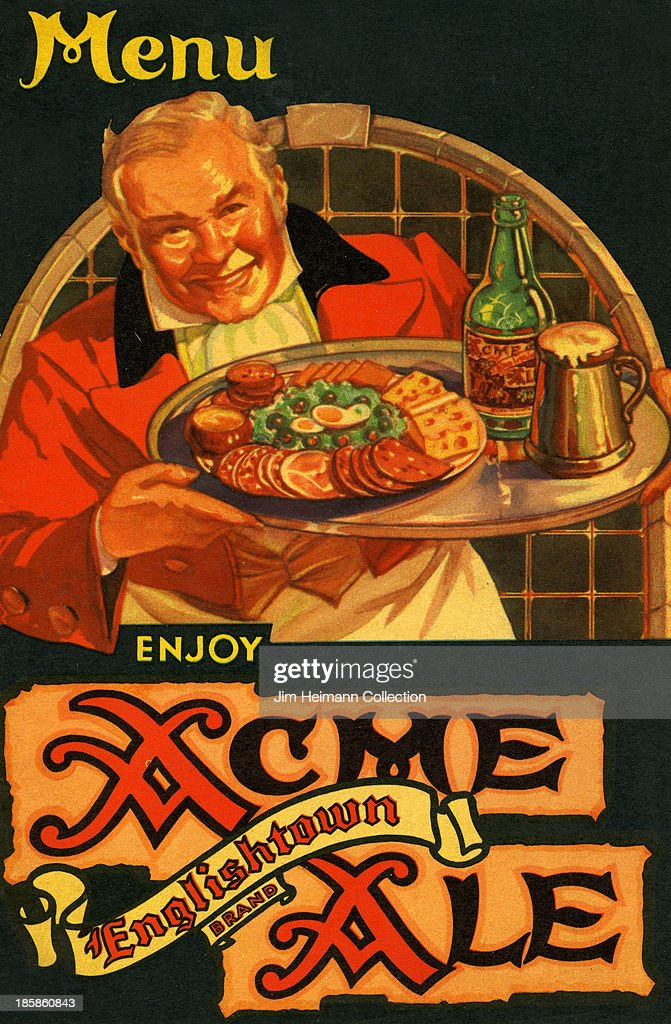 A menu for Acme Ale reads 'Enjoy Acme Ale Englishtown Brand' from 1938 in USA.