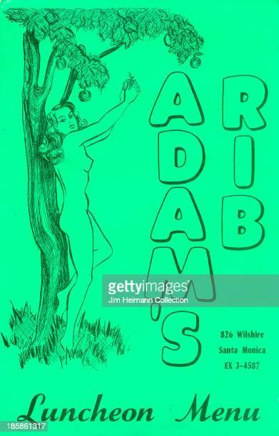 A menu for Adam's Rib reads 'Adam's Rib Luncheon Menu' from 1939 in USA