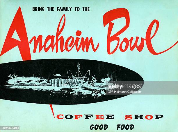 A menu for Anaheim Bowl reads 'Bring the Family to The Anaheim Bowl Coffee Shop Good Food' from 1961 in USA