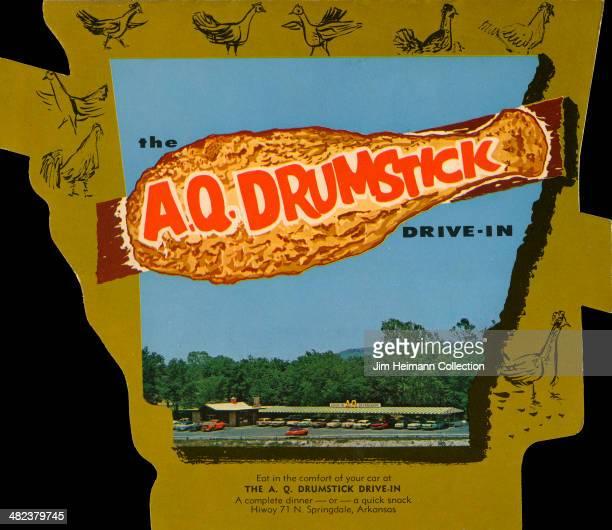 A menu for AQ Drumstick DriveIn reads 'AQ Drumstick DriveIn' from 1955 in USA