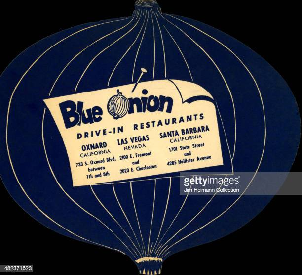 A menu for Blue Onion reads 'Blue Onion DriveIn Restaurants' from 1956 in USA