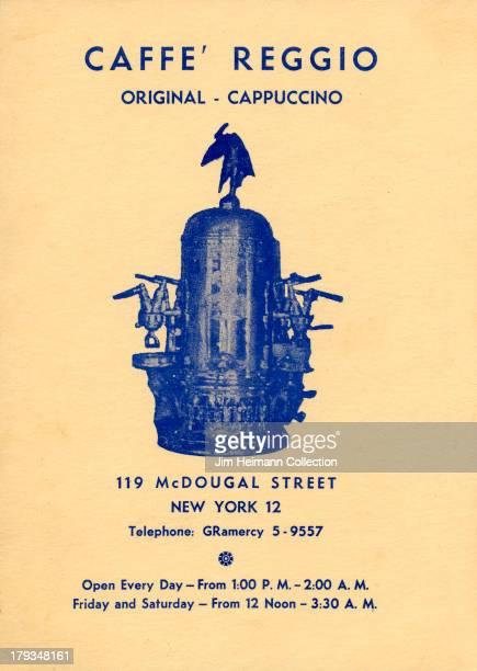 A menu for Caffe' Reggio reads 'Caffe' Reggio Original Cappuccino' from 1959 in USA