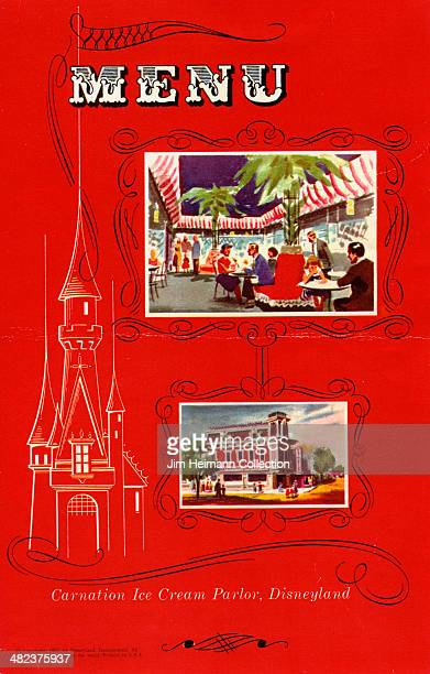 A menu for Carnation Ice Cream Parlor reads Carnation Ice Cream Parlor Disneyland from 1955 in USA